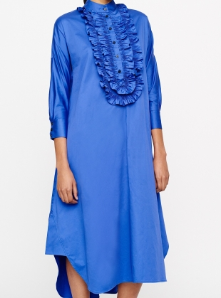BLUE SATEEN COTTON RUFFLE DRESS  by Teija Eilola