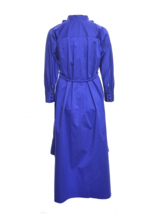 Young British Designers: BLUE SATEEN COTTON RUFFLE DRESS  by Teija Eilola