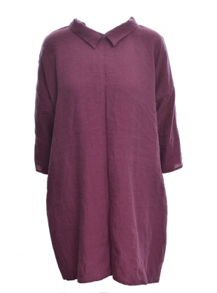 Softened Linen Reversible Dress in Pastel Wine by Lemuel MC