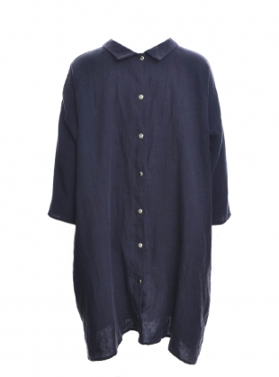 Softened Linen Reversible Dress in Navy/Grey by Lemuel MC