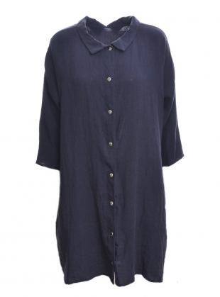 Young British Designers: Softened Linen Reversible Dress in Navy/Grey by Lemuel MC