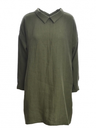 Softened Linen Reversible Dress in Khaki  by Lemuel MC