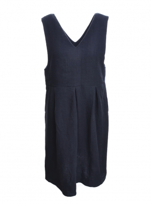 Young British Designers: Softened Linen Navy Pinafore Dress  by Lemuel MC