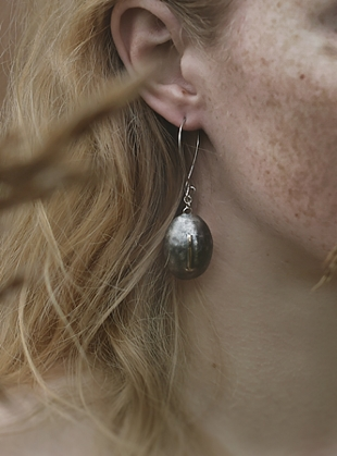Ovoid Smoky Earrings by Agneta Bugyte