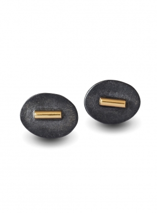 Black and Gold Stud Earrings by Agneta Bugyte