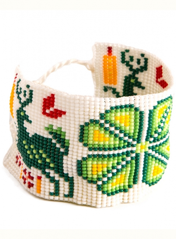 Young British Designers: Huichol Beaded Bracelet: Green by Beshlie McKelvie