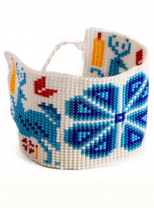 Young British Designers: Huichol Beaded Bracelet: Blue - Sold out by Beshlie McKelvie