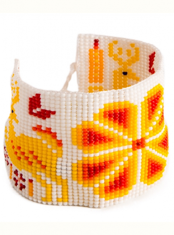Young British Designers: Huichol Beaded Bracelet: Orange by Beshlie McKelvie
