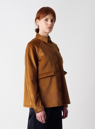 A LINE JUMBO CORD JACKET in Cinnamon  by Kate Sheridan