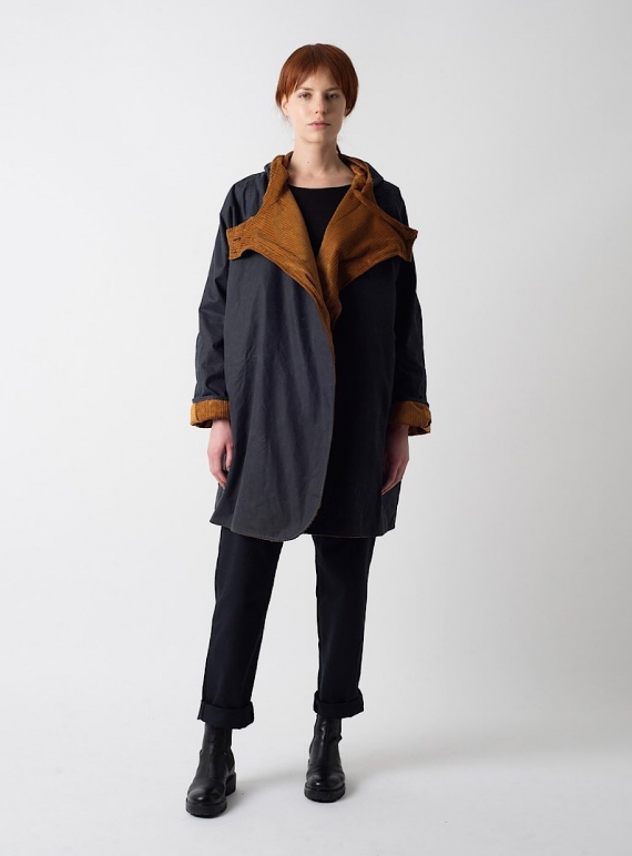 Young British Designers: BATWING Waxed Cotton Coat in Navy and Cinnamon Cord by Kate Sheridan