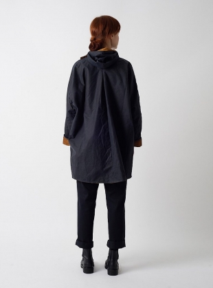 Young British Designers: BATWING Waxed Cotton Coat in Navy and Cinnamon Cord - Last one by Kate Sheridan