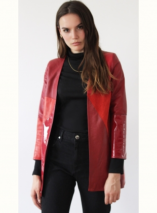 PATCHWORK Red Leather Jacket by Florence Bridge