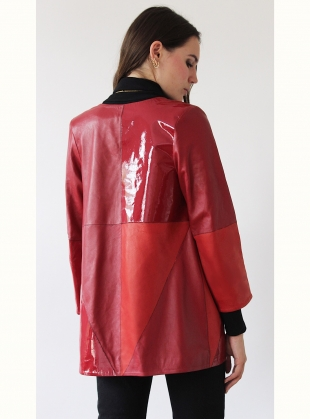 Young British Designers: PATCHWORK Red Leather Jacket by Florence Bridge