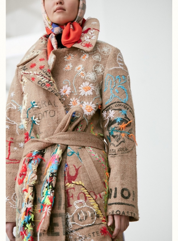 Young British Designers: COFFEE SACK COAT with Embroidery by Alice Lee