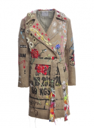 COFFEE SACK COAT with Embroidery by Alice Lee