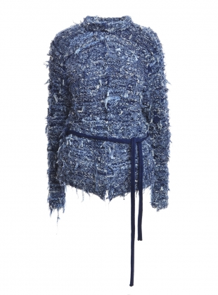 RECYCLED: WOVEN BLUE JEANS JACKET by Alice Lee