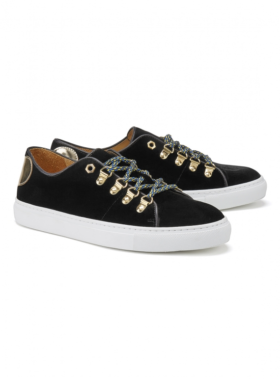 Young British Designers: TOUGH LOVE SNEAKER in Black Velvet by Rogue Matilda