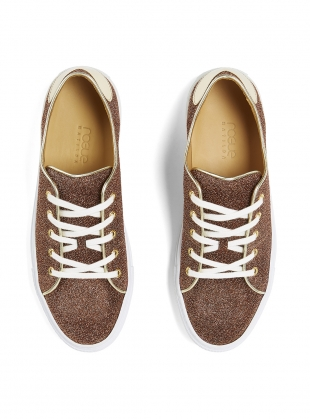 Young British Designers: SWEETHEART SNEAKER in Bronze Shimmer - last pair (37) by Rogue Matilda