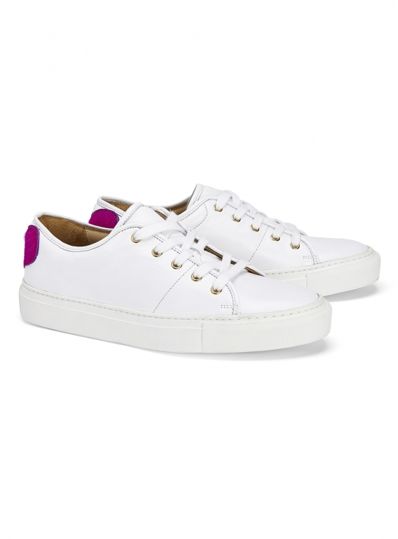 Young British Designers: SWEETHEART SNEAKER in White by Rogue Matilda