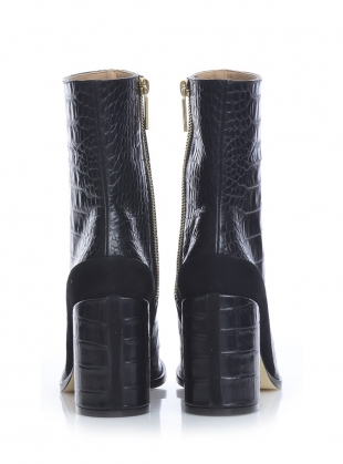 Young British Designers: SPIRIT BOOT in Black Croc - Last pair by Dear Frances