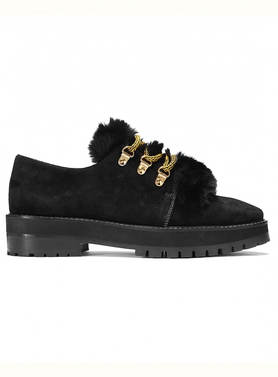Young British Designers: CHUNKY MONKEY Brogues in Black Suede by Rogue Matilda