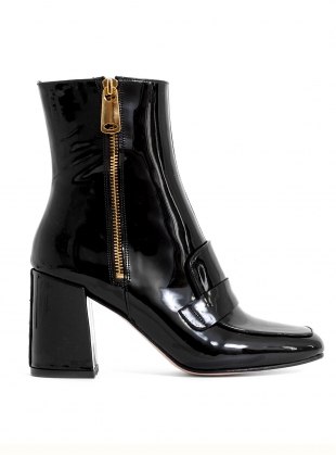 XO Ankle Boot in Black Patent by HAVVA
