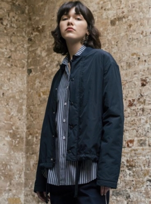 Young British Designers: BOYFRIEND Shirt with Side Buttons in Charcoal Stripe by Folk