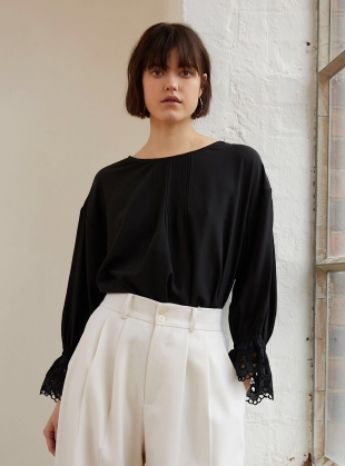 DARK NIGHT Blouse in Black Silk Crepe by Kelly Love