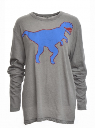 LONG SLEEVED TEE. Blue Dinosaur by Simeon Farrar