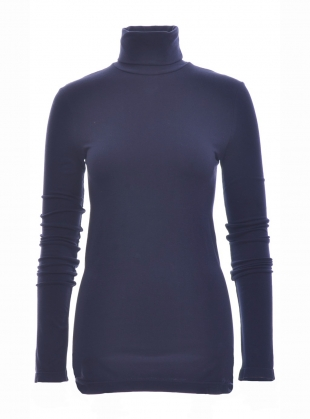 TRICIA Organic Cotton and Lyocell Roll Neck Top in Navy by Beaumont Organic