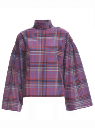 LOLA BLOUSE in Purple Prairie Check by Belize
