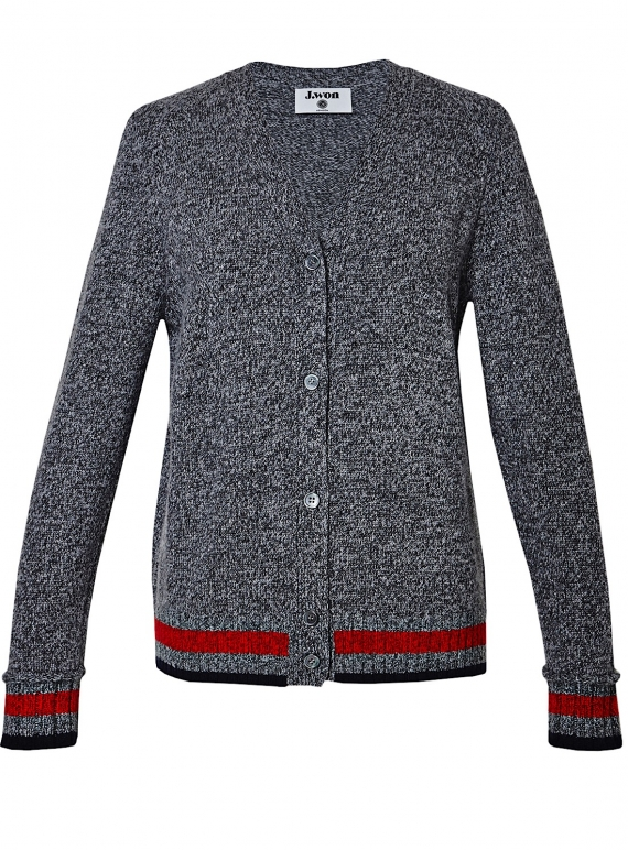 Young British Designers: CHUNKY CASHMERE CARDIGAN in Grey Melange by J.Won