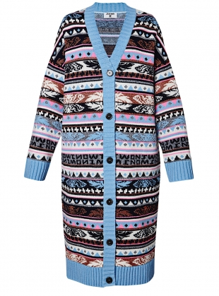ANGEL FAIR ISLE KNIT OVERSIZED CARDIGAN by J.Won