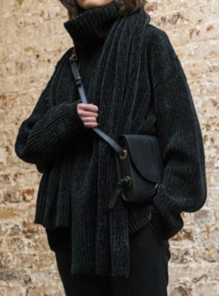Young British Designers: CHENILLE Roll Neck in Black by Folk