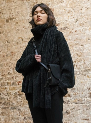 CHENILLE Roll Neck in Black by Folk
