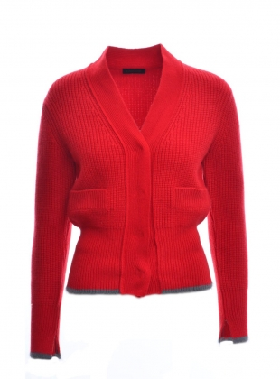 SHEILA Red/Grey Knit Cardigan by Eudon Choi