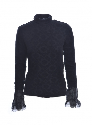 Black Jacquard Knit Roll Neck Top - Sold out by Renli Su