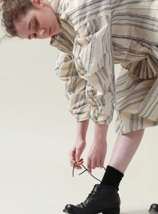Young British Designers: Tucked and Stitched Ecru and Blue Striped Top by Renli Su