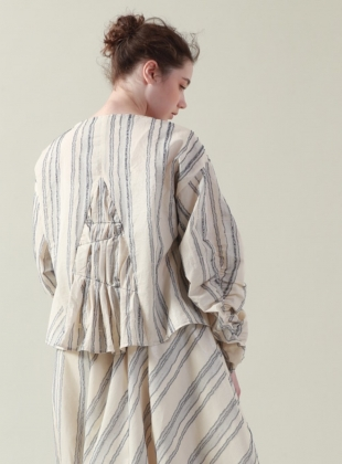 Tucked and Stitched Ecru and Blue Striped Top by Renli Su
