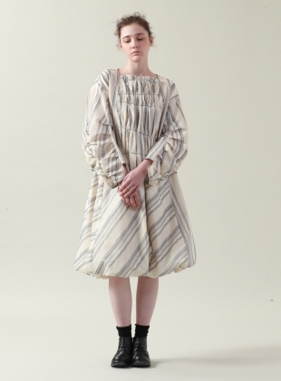 Young British Designers: Tucked and Stitched Ecru and Blue Striped Top - last one by Renli Su