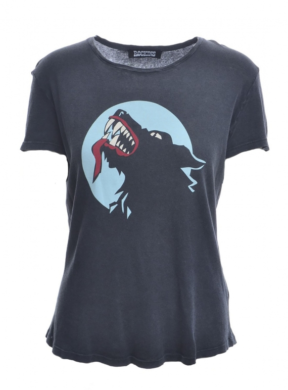 Young British Designers: WEREWOLF T-SHIRT in Washed Black by Rockins