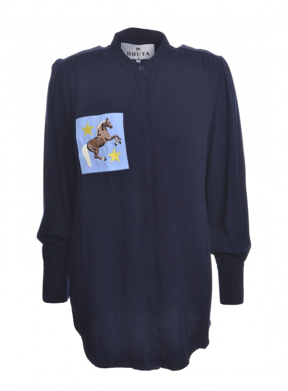 Young British Designers: WHISTLE Grandad Shirt in Navy Viscose  by Bruta