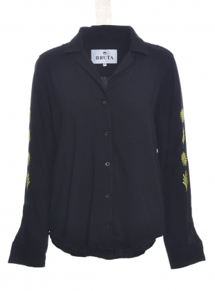 COWSLIP V-Neck Black Shirt by Bruta