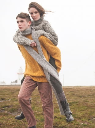 Young British Designers: Inishowen Tweed Sweater in Saffron - Last one (L) by McConnell