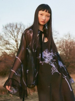 Young British Designers: GYPSOPHILA Silk Ruffle Shirt by Florence Bridge