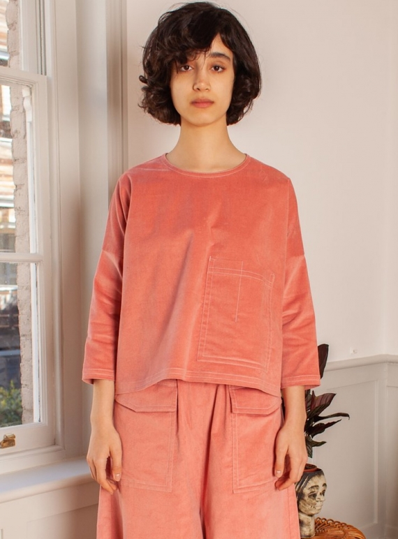 Young British Designers: HARLEY Top in Dusty Pink Velvet - Last one (OS) by LF Markey