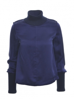 Navy Silk Lining Turtleneck by Steven Tai