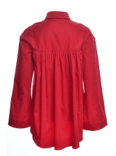 RED SATEEN COTTON WIDE SLEEVE SHIRT