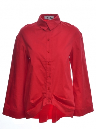 RED SATEEN COTTON WIDE SLEEVE SHIRT  by Teija Eilola