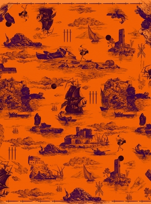 Young British Designers: GIANT SCARF in Doomed Voyage Print by Klements